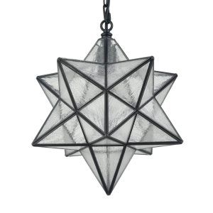 Vintage Moravian Star Seeded Glass Pendant Lights, 14-inch Diameter