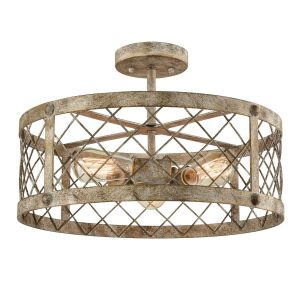 Vintage Semi Flush Mount Ceiling Light Metal Cage Shade