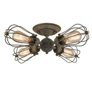 Wire Cage Rustic Semi-flush Mount Ceiling Light