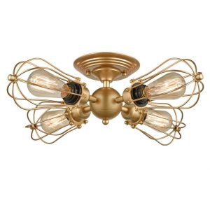 Wire Cage Vintage Semi-flush Mount Ceiling Light Brass Light