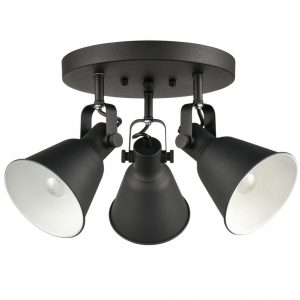 Adjustable Semi Flush Mount Ceiling Light Metal Light Fixture Matte Black
