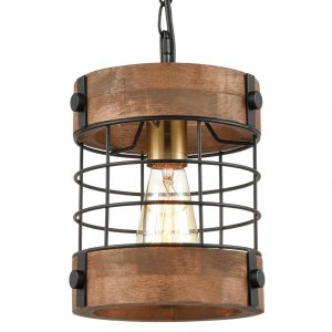 Farmhouse Metal Wood Cage Ceiling Pendant Light Distressed Brown