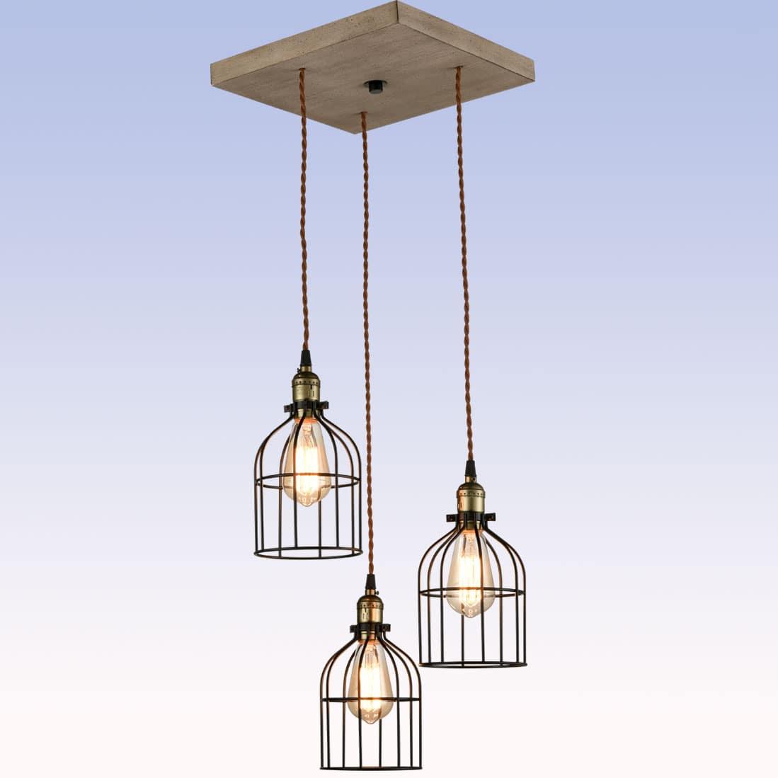 Industrial Kitchen Pendant Light Edison Metal Caged Hanging Light Fixture