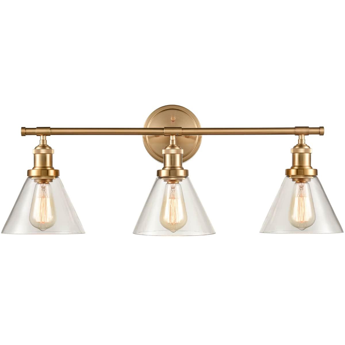 Brass 3-Light Vanity Lights Cone Glass