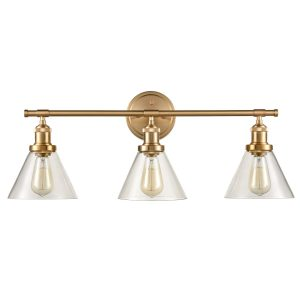 Brass 3-Light Vanity Lights Cone Glass