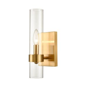 Brushed Gold with Glass Shade 1 Light Wall Sconce