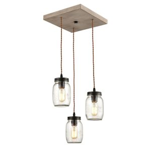 Farmhouse 3-Light Mason Jar Pendant Lights Glass Jar Ceiling Chandelier