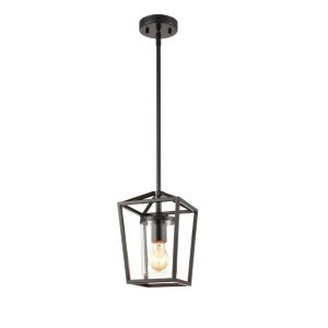Industrial Black Cage Pendant Lighting with mini Glass Cylinder Shade