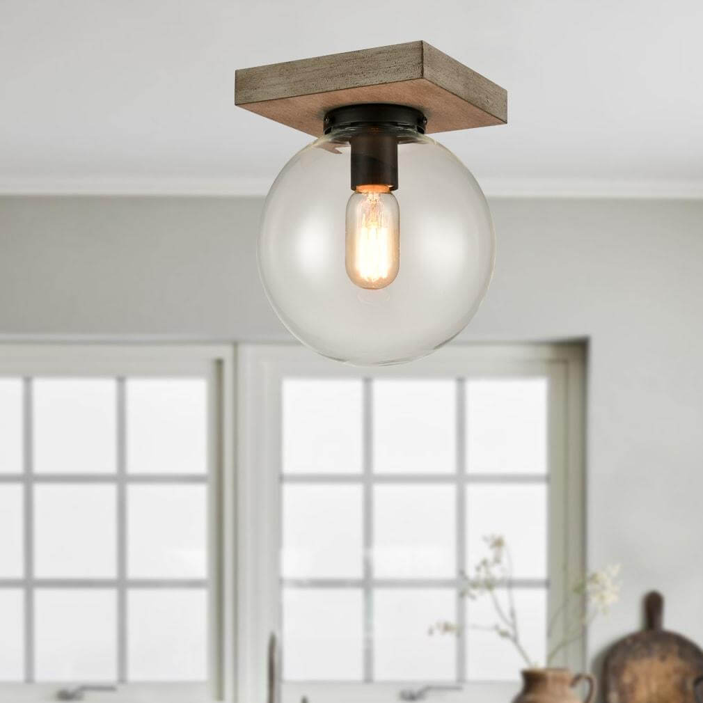 Industrial Glass Globe Ceiling Light with Distressed Wooden Canopy