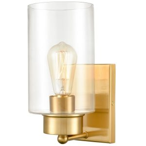 Modern 1-Light Wall Sconces Brass Wall Light with Clear Glass Shade