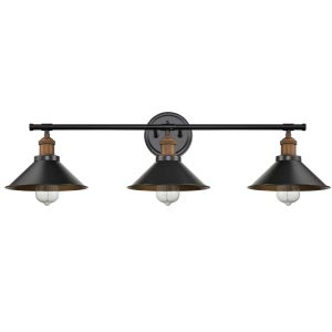 3 Lights Metal Wall Sconces Industrial Bathroom Vanity Light Fixture