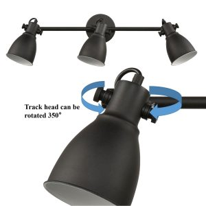 Black 3 Light Track Lighting Wall Mount Ceiling Tracking Metal Vanity Lighting