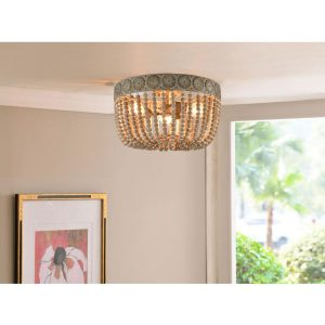Farmhouse Ceiling Lights Wood Beaded Flush Mount Ceiling Lighting Fixture Art Decor