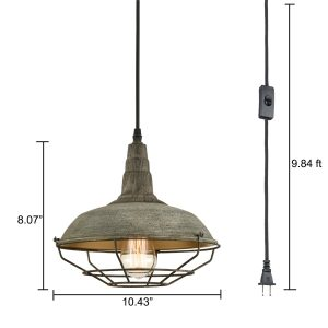 Farmhouse Plug in Pendant Light Hanging Lighting Fixture