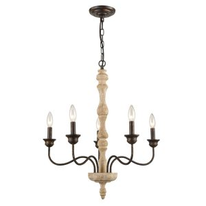 Farmhouse Shabby Chic Chandelier Vintage Metal Wood Chandeliers