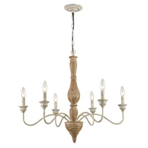 French Country Wood Chandelier Hanging Chain Candle Farmhouse Pendant Lights