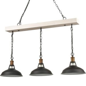 Industrial Adjustable Black Kitchen Island Lighting 3 Light Barn Shape Pendant Lights
