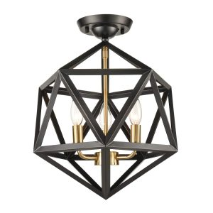 Industrial Black 3 Light Flush Mount Ceiling Light Fixture