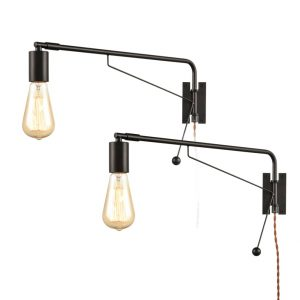 Industrial Black Set of 2 Swing Arm Plug-in Wall Sconces