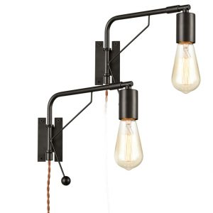 Industrial Black Simplicity Swing Arm Plug-in Wall Sconces, 2 Pack