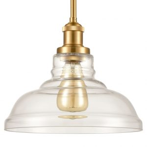 Industrial Kitchen Clear Glass Ceiling Pendant Hanging Light Vintage Barn Shape Lamp