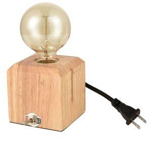 Industrial Oak Table Lamp Rustic Cube Desk Light Living Room Bedroom Bedside