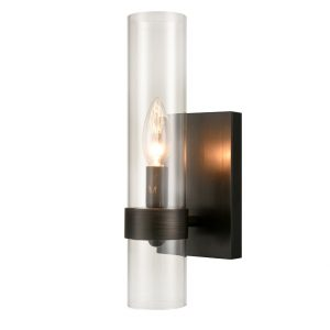 Industrial Oil Rubbed Bronze Glass Cylinder Wall Sconce