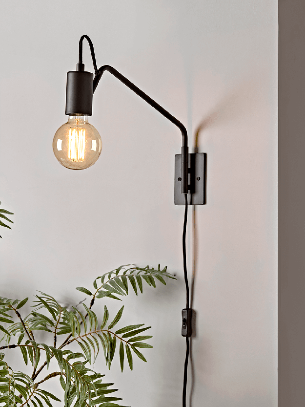 Industrial Plug in Wall Sconces Set of 2 Black