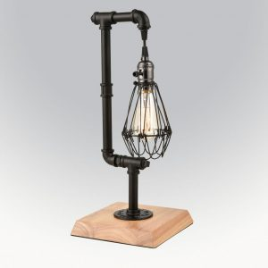 Metal Cage Edison Steampunk Table Lamp,Water Pipe Desk Accent Light