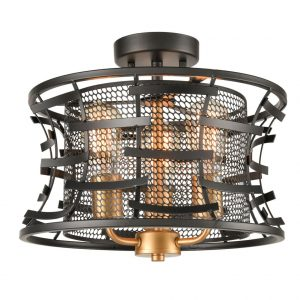 Metal Drum Semi Flush Mount Ceiling Light 3 Light