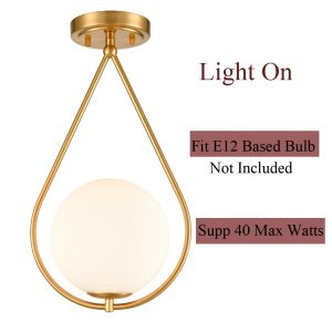 Modern Brass Flush Mount Ceiling Lights Ivory Glass Shade