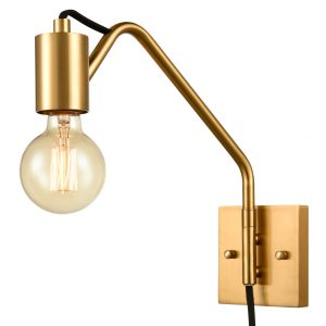 Modern Swing Arm Plug-in Wall Sconces Set of 2, Brass