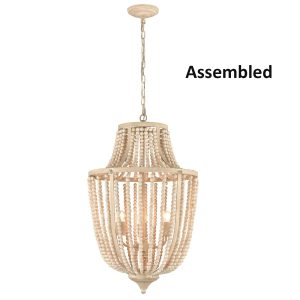 Rustic Chandelier 3 Lights Wood Beaded Chandeliers Lights Fixture
