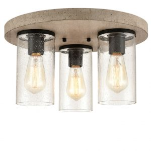 Rustic Clear Semi Flush Mount Ceiling Light Fixture Seeded Glass Shade for Kitchen Living Room