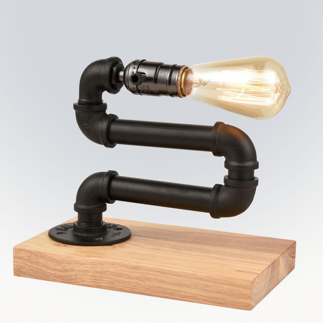 Rustic Water Pipe Table Lamp Steampunk Edison Desk Light