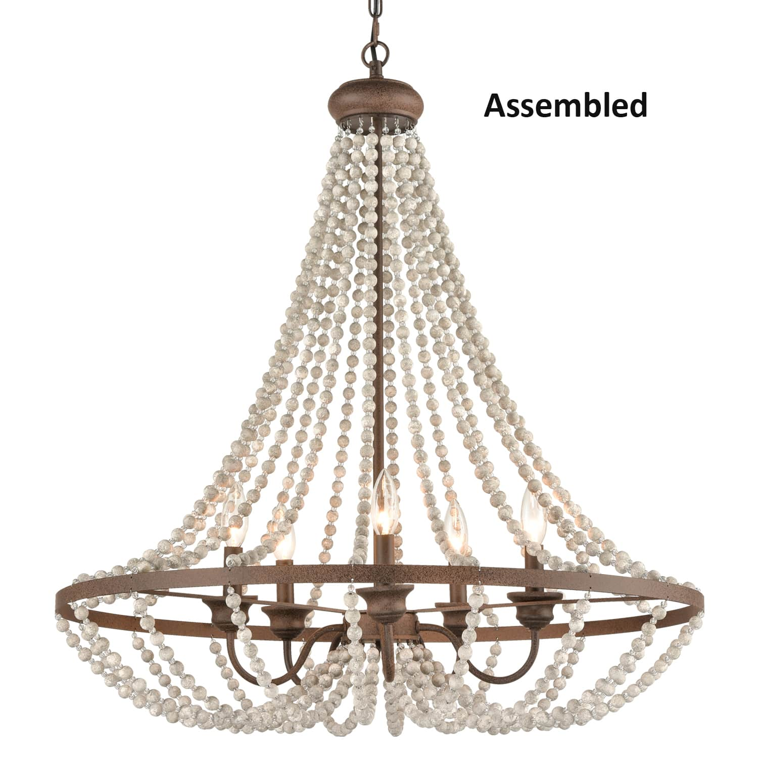 Rustic Wood Beaded Chandeliers for Dining Room 5 Lights Fixture
