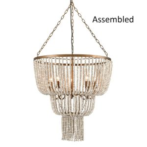 Tiered Basket Wood Beaded Chandelier Rustic 5 Lights Fixtures