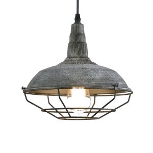 Vintage Stained Finish Metal Cage Barn Ceiling Pendant Hanging Lighting Fixture Blue
