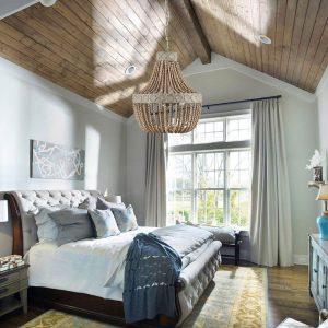 rustic wood beaded chandelier