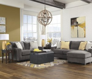 living room-crystal and wood chandelier
