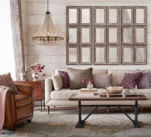 wood beaded chandelier living room1