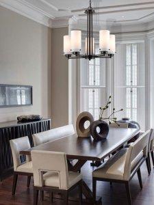 five light glass chandelier