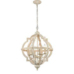 Off-white Wooden Chandelier 6 Light