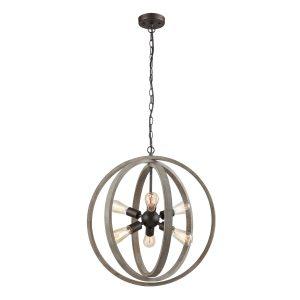 Globe Wood six-light Chandelier