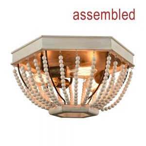 Distressed Off-white Wood Beaded Ceiling Light 3-Light