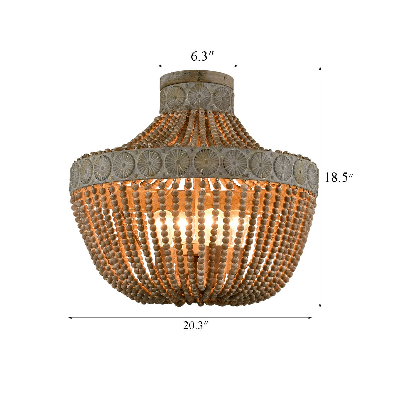 Farmhouse Wood Bead Ceiling Lights Large Flush Mount Ceiling Lighting Fixture