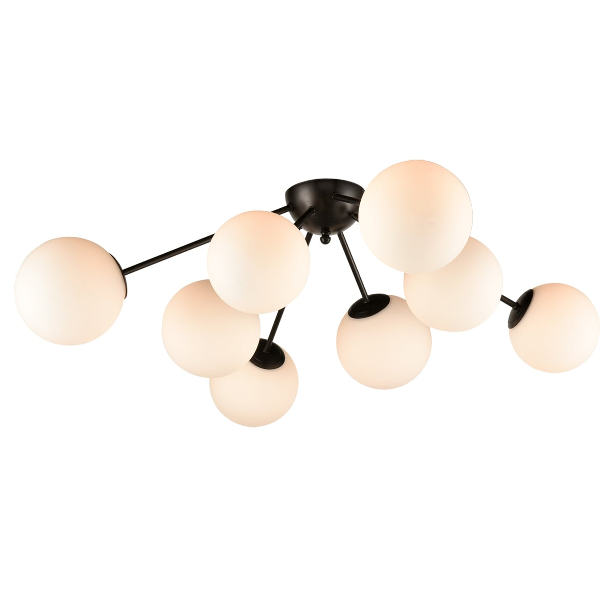 Opal Glass Bronze Sputnik Ceiling Light