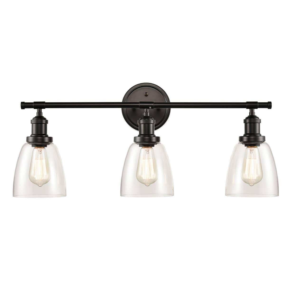 Industrial 3 Light Bathroom Vanity Lighting Black Wall Sconces