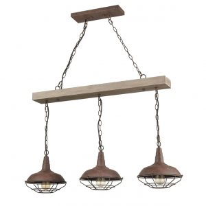 Industrial Adjustable Rustic Wood Accent Kitchen Island Lighting 3 Light