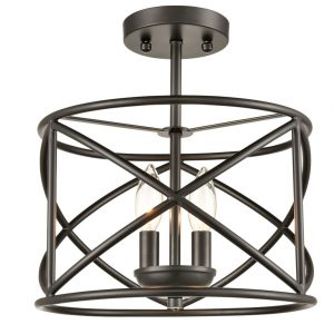 Industrial Metal Drum Black Semi-Flush Mount Ceiling Light